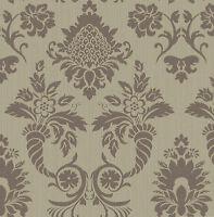 Tapete, Designtapete, Packpapier, floral, Ornamente, Glanz, Beige, Gold, Nutella