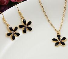 Fashion  dangling  flowers  Pendant Necklace Chain Earrings Jewelry Set DZ229