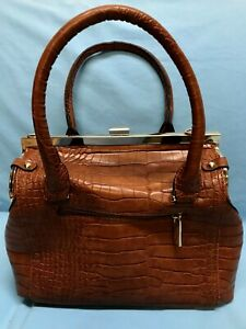 Doctor's Bag Purse Brown Animal Print Large Lined Snap Close Faux Leather