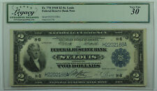 1918 Two Dollar National Currency St. Louis Note $2 Fr. 770 Legacy VF-30