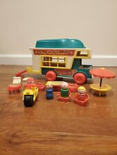 1972 Fisher Price Little People Play Family Camper with Boat and 15 pieces