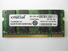 * CRUCIAL 4GB (1 x 4GB) DDR2 PC2-6400 800MHz Apple Mac LAPTOP SO-DIMM *