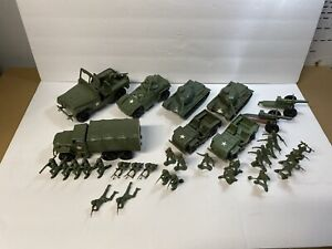 Processed Plastic Army Tim Mee 2.5 ton Truck, Armored Car Tank Soldiers lot