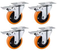 4 x Heavy Duty 100mm 600kg Pu Swivel Castor Wheels Brake Trolley Furniture UK