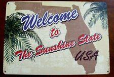 Hillman welcome sunshine state USA florida Sign plaque Alumin Metal 10x14 retro
