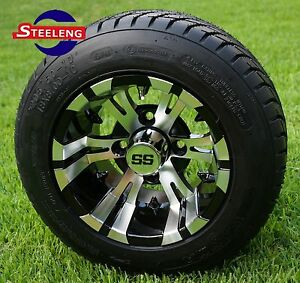 """GOLF CART 10"""" MACHINED VAMPIRE WHEELS/RIMS and 205/50-10 DOT LOW PROFILE TIRES"""