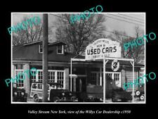 OLD POSTCARD SIZE PHOTO OF VALLEY STREAM NEW YORK THE WILLYS CAR DEALER c1950