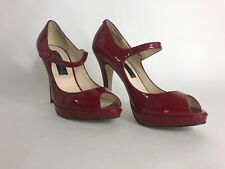 Steven By Steve Madden Womens Size 6.5 Red Open Toe Patten Leather High Heels