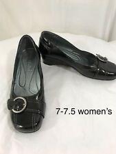 Josef Seibei Black Patent Buckle Slipper Shoes