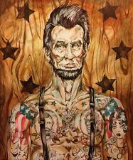 LEX outsider pop SuRReal Print Tattooed Abe Lincoln president Civil War painting