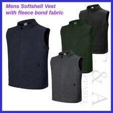 Mens Shower Proof Light Weight Soft shell Vest W/ Fleece bonded Fabric & Pocket