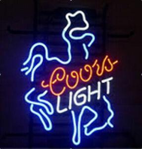 "New Coors Light Cowboy Neon Sign 17""x14"" Poster Beer Bar Real Glass Handmade"