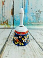 "Vintage Porcelain Multi Color Flowers Floral Motif Figurine Bell 5"" Tall"