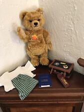 VINTAGE STEIFF 1997 PASSPORT TEDDY BEAR w SUITCASE, CLOTHES, & GROWLER! MOHAIR.