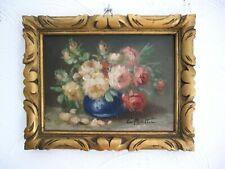 Vase de roses Charmante Hst vers 1930/1940 signée Cadre sculpté doré 24 x 18