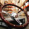 "380mm Chrome Dark Steering Wheel Real Wood Riveted Grip (15"") - FACTORY SECOND"