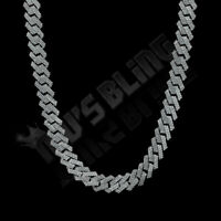 Solid .925 Sterling Silver Out Iced Lab Diamond Prong Set 14mm Cuban Link Chain