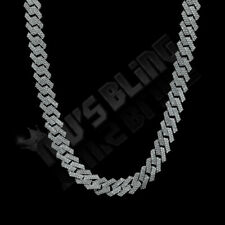 18K White Gold Plated Out Iced Lab Diamond Prong Set 14mm Cuban Link Chain