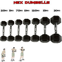 HTH Rubber Hex Dumbells Weight set Home Fitness Gym Tricep Training Ergo Pair