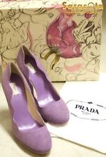 "AUTHENTIC PRADA CALZATURE DONNA ""FAIRY"" GLYCINE COLOR SIZE 38 SUEDE SHOES"