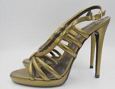NEW Roberto Cavalli Metallic Gold Leather Strappy Heels Sandals 37.5 7.5 Bronze