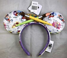 Disney Parks Ink & Paint Brush Palette Mouse Ears Headband Epcot Festival Arts