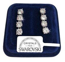 Orecchini tennis da 4 donna pl. oro bianco 18K con cristalli swarovski SW/16