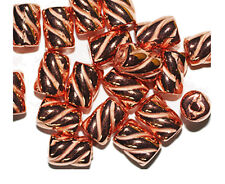 Barber Pole Twist 12mm Tube Bright Copper Metalized Metallic Beads