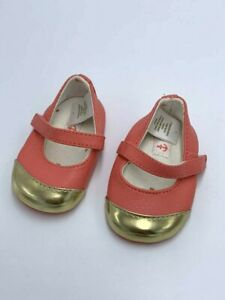 Janie & Jack Nautical Charm Infant Size 1 Coral Gold Toe Mary Jane Crib Shoes