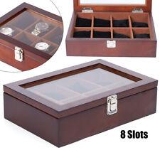 8Slots Brown Wood Watch Jewelry Display Box Watch Organizer Transparent Top Lid