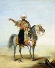 High-quality Oil painting male portrait Arab horseman in Desert landscape