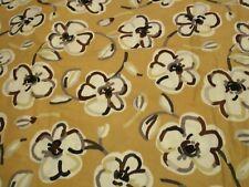 Large Floral Cotton Fabric 1 Yard Tan Browns White & Black Dwellings Bentarex