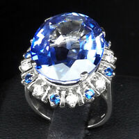 VIOLET BLUE TANZANITE RING OVAL 18.30 CT. SAPPHIRE 925 STERLING SILVER SZ 6.5