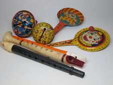 Lot Vtg 60's Lithograph Tin New Year Noisemaker Us Metal Toy Flutes Rattle Clown