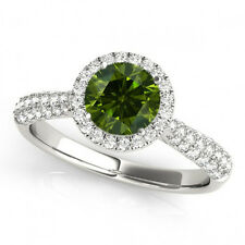 0.73 Ct Green Diamond Round Halo Engagement Ring Trendy Best Deal 14k White Gold