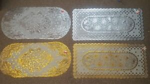Lace Effect Table Runner coffee table Centre Dinning Decor SILVER GOLD OVAL RECT