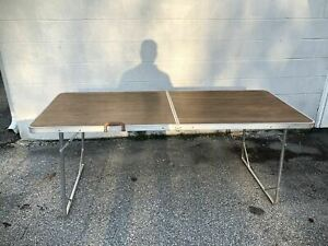 VTG Faux Wood Aluminum Folding Table w/Handle Camping 6ft Suitcase Style MCM USA
