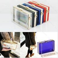 Womens Acrylic Perspex Clutch Purse Evening Bag Handbag Shoulder Bag #L 6 Colors