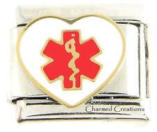 Heart Medical Alert Star Of Life Caduceus 9mm Italian Charm Link For ID Bracelet