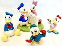 Donald & Daisy Duck Figurines Disney & VTG Walt Disney Productions - Lot of 4