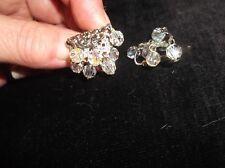 Vintage Bijoux Craft Clip Boucles D'Oreilles Ton Argent Dangle Aurora Borealis Perles