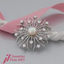 BROSCHE mit 1 Perle und Brillanten (Diamant) ges. ca. 0,80ct - 18K/750 Weißgold