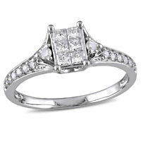 Amour 1/2 CT TW Princess Cut Diamond Engagement Ring in 10k White Gold