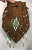 19th C. Antique Plains Native American Beaded Leather Medicine Tobacco Purse Bag