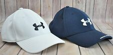 Set of 2 UNDER ARMOUR Stretch Fit Golf Baseball Cap Hat Blue White Bonita Bay