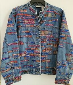 Chico's Denim Jacket size 2, Jacquard, Bohemian, Shabby Chic