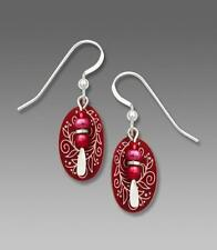 Adajio Earrings Cranberries and Vines Etched Oval with Bead Drop Handmade in USA