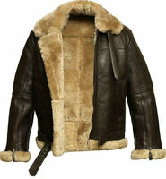 RAF MENS Aviator Pilot B3 Flying Leathe jacket  Bomber Fur Shearling Sheepskin