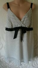 Evans Essence Cream & Black Spotted Chiffon Lined Blouse Size 24