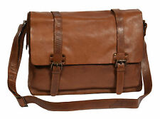 Mens Real Leather Satchel Bag SOFT Brown Antique Double Buckle Casual Messenger